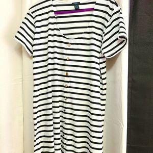 Plus Size Striped Button Down Ribbed Knit Dress